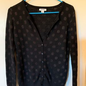 ⚫️Old Navy Black Metallic Polka dot Cardigan ⚫️